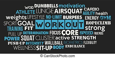 Workout sport word cloud concept text is outline