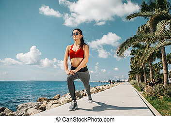 workout, strand, m�dchen, anfall
