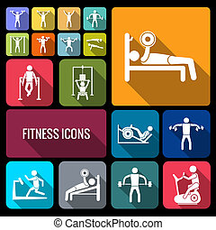 Workout training icons set flat - Workout sport and fitness...