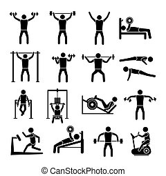 Workout Training Icons Set - Workout sport and fitness gym...