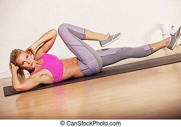 Workout, vrouw, haar, Prachtig