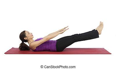 workout, vrouw, jonge, abs