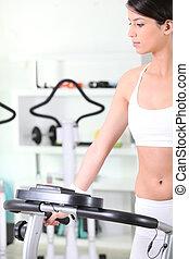 workout, vrouw, jonge, haar