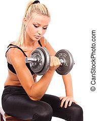workout, vrouw, jonge