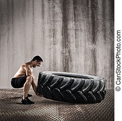 Workout with a big tire