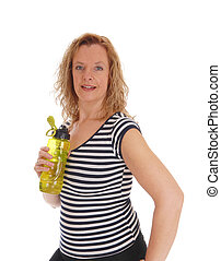 Workout woman with her water bottle.