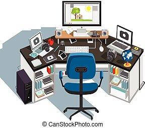 workplace., カメラマン, ベクトル, イラスト