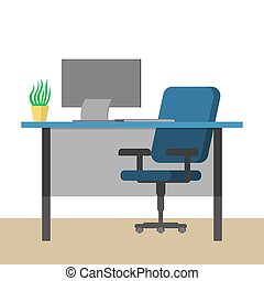 workplace., 電腦, 空的辦公室, 書桌
