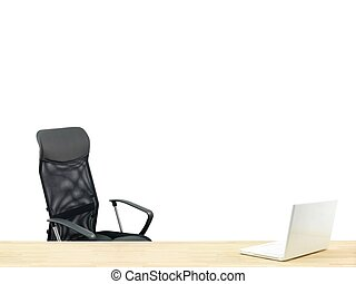 Workplace - A workplace scene isolated against a white...