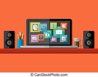 workplace., apartamento, computador, desenho