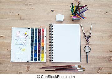 workplace, artist, topp, utsikt., måla, borstar, breda