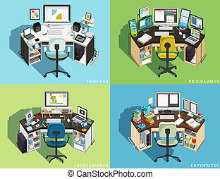 Workplace at the computer of different professions. Programmer, Designer Photographer, Copywriter. Vector illustration
