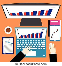 Workplace business office top view of hand on laptop computer on desk with monitor, digital device, coffee and paper with graph. Flat design vector illustration.