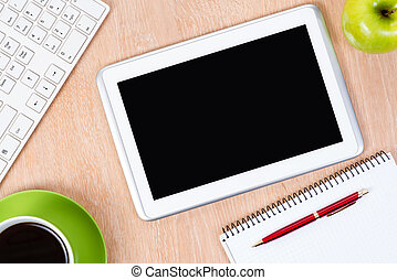 pc keyboard, pen and tablet, workplace businessman