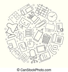 Workplace circle background from line icon. Linear vector pattern.