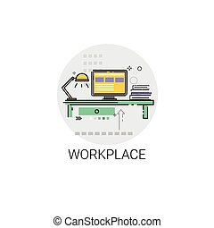 Workplace Desk Computer Workspace Office Icon