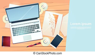 Workplace Desk Laptop Finance Documents Papers Office Stuff Top Angle View