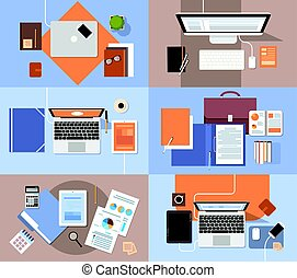 Workplace Desk Set Top Angle View Tablet Laptop Computer With Paper Documents Reports Finance Graph