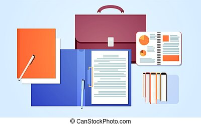 Workplace Desk Top Angle View Suitcase With Paper Documents Sign Contract