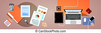 Workplace Desk Top Angle View Tablet Laptop Computer With Paper Documents Reports Finance Graph Flat Vector Illustration