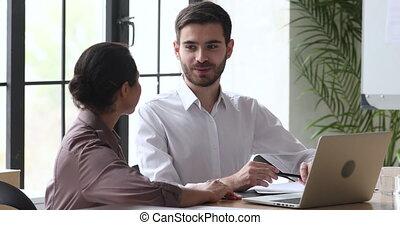 workplace., divers, conversation, amical, agréable, apprécier, employés, deux