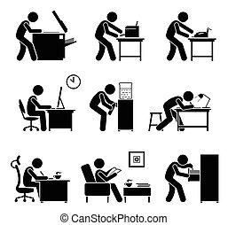 workplace., equipments, empregados, escritório, usando