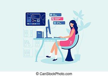 workplace., executiva, difícil, dela, trabalhando