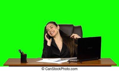 workplace., flirter, studio, téléphone, vert, femme...