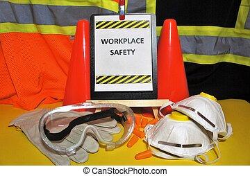 workplace health biztonság, aláír, noha, ppe, alatt, a, forefront