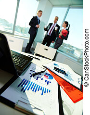Workplace - Image of business documents on workplace with...