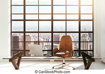 workplace in a white modern interior with city view