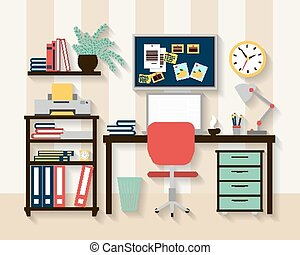 Workplace in cabinet room interior. Laptop and table, chair...