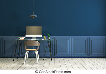 Workplace in clean blue interior