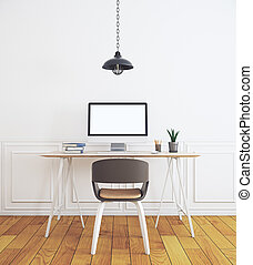 Workplace in contemporary white interior