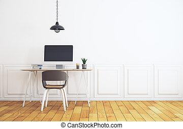 Workplace in minimalistic white interior