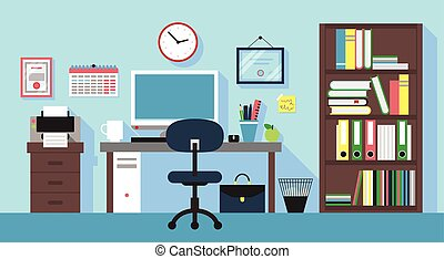 Workplace in office room - Illustration of Workplace in...