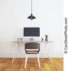 Workplace in simple white interior