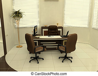 Workplace in the interior of the office