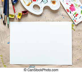 Workplace of an artist-painter on the paper cover