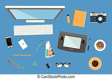 Workplace of designer, office equipment, mobile devices and work tools vector illustration in flat style
