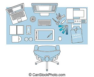 Workplace of designer with devices