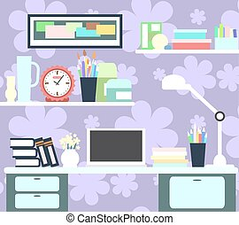 Workplace of girl with the computer, lamp, books, watches and other items. Vector