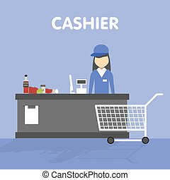 Workplace of the cashier at supermarket