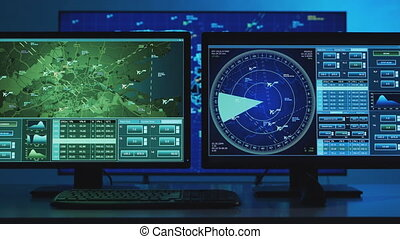 Workplace of the professional air traffic controller in the control tower. Radar, computer navigation and digital maps. Aviation concept.