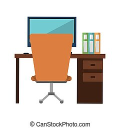 workplace office space equipment design vector illustration...