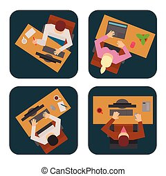 Workplace office tables vector business people team work process office concept web modern worker table top view flat illustration.