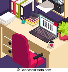 Workplace office work Objects on table Isometric concept of workspace with computer and office equipment