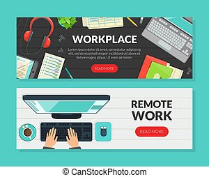 Workplace, Remote Work Landing Page Templates Set, Top View of Working Space Homepage, Website Flat Vector Illustration