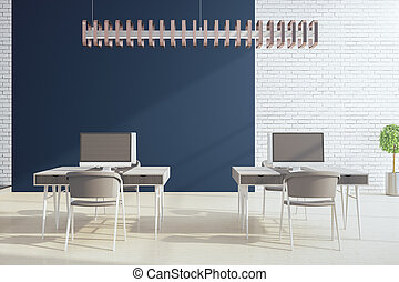 Workplace room with computers on table