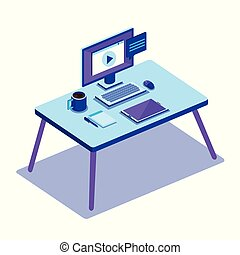 workplace scene isometrics icons